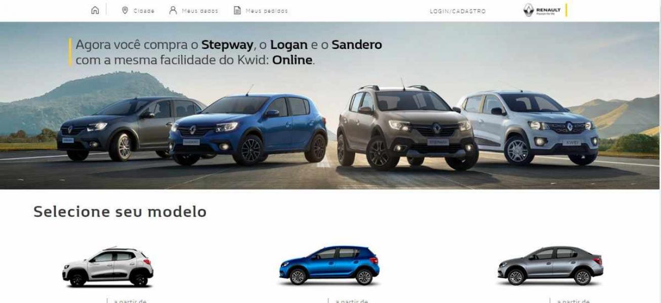 Toda a Linha de Veículos da Renault passam a ser vendidos pela Internet